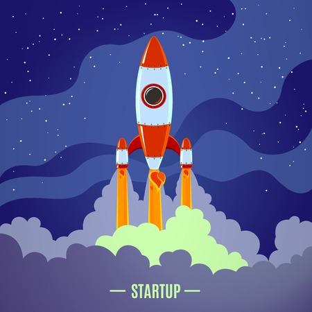 brandweer cartoon: Startup concept met platte cartoon gestileerde raketlancering poster vector illustratie