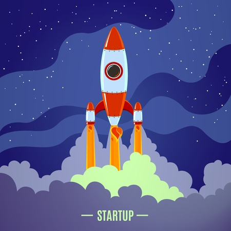 cartoon science: Startup concept with flat cartoon stylized rocket launch poster vector illustration