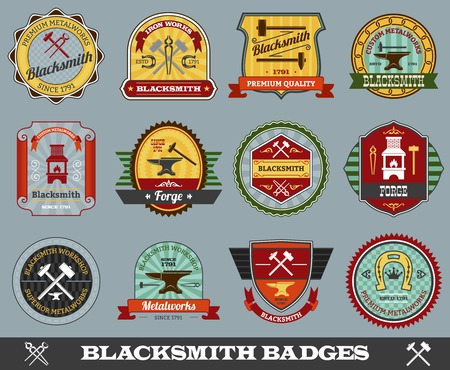 Blacksmith foundry metalwork industry colored badges set isolated vector illustration Illustration