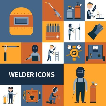soldadura: Soldador y obrero herrero iconos decorativos conjunto aislado ilustraci�n vectorial