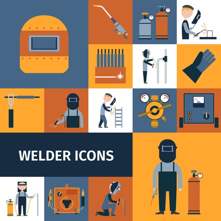 welding: Welder and blacksmith laborer decorative icons set isolated vector illustration Illustration