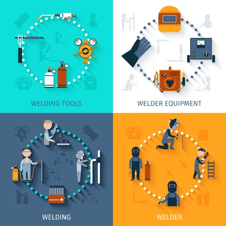 welding: Welder design concept set with welding tools and equipment flat icons isolated vector illustration