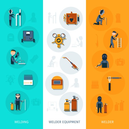 gas mask: Welder banner vertical set with welding equipment elements isolated vector illustration