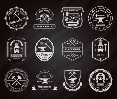 ironworks: Blacksmith ironworks forge industry equipment label chalkboard set isolated vector illustration Illustration