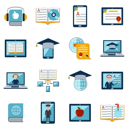 users video: E-learning internet education web tutorial digital school icons set isolated vector illustration Illustration