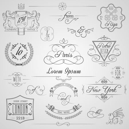 Calligraphic design elements and classic vignette flourish ornament set isolated vector illustration