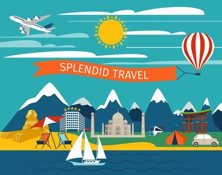 splendid: Splendid travel background with journey transport and world landmarks vector illustration