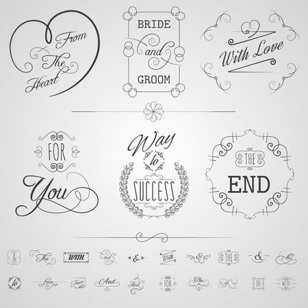 cartoline vittoriane: Calligrafia elementi di design di carte di nozze scorre invito set illustrazione vettoriale isolato