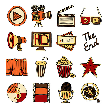 Vintage cinema filmmaking studio and movie theater color icons set with tape bobbin abstract isolated vector illustration Illustration