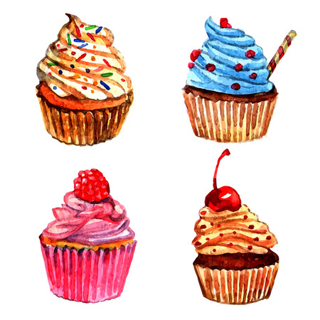 Delicious cupcakes with vanilla raspberry whipped cream sprinkled filling watercolor pictograms collection sketch abstract isolated vector illustration Vector