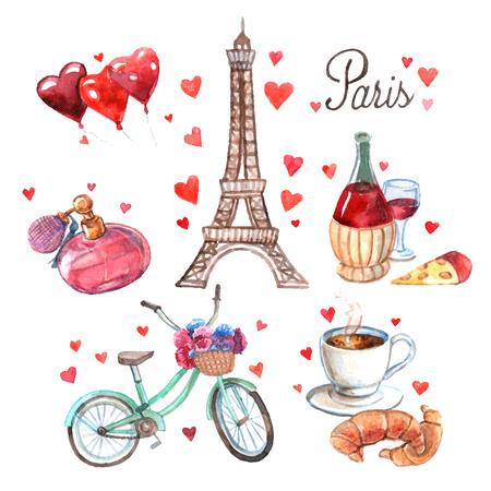 romantizm: Paris aşk romantizm kalp sembolleri Eyfel Kulesi ve kırmızı şarap suluboya soyut vektör çizim ile kompozisyon simgeleri Çizim