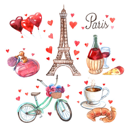 romance: Paris love romance heart symbols icons composition with eiffel tower and red wine watercolor abstract vector illustration