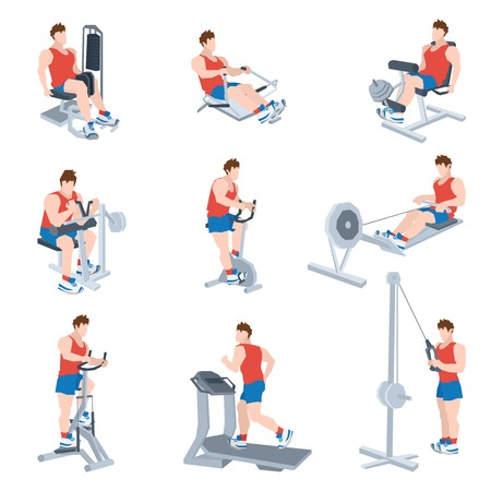 Sport exercise machines and fitness training apparatus set with men isolated vector illustration