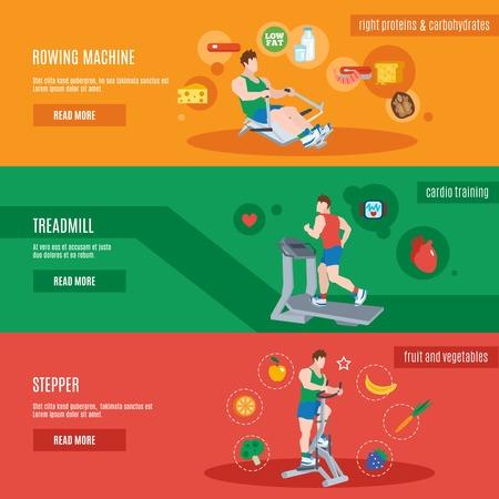 fitness hombres: Aparatos de entrenamiento de fitness horizontal banderas conjunto con hombres planos aislados ilustraci�n vectorial