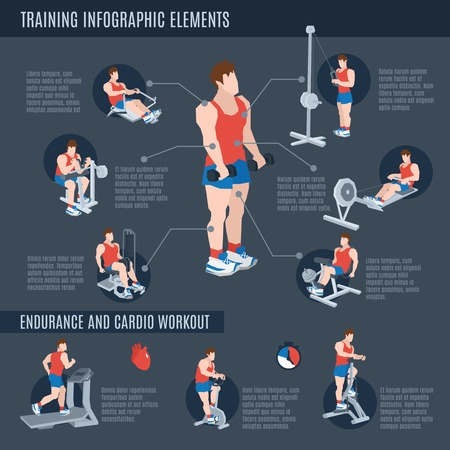 stretching exercise: Exercise machines infographics set with man figures on training apparatus in sport club vector illustration