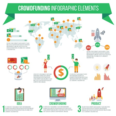 implementation: Crowdfunding infographic set with startup idea implementation symbols and charts vector illustration