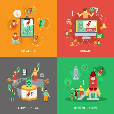 implementation: Crowdfunding design concept set with great idea donate implementation flat icons isolated vector illustration