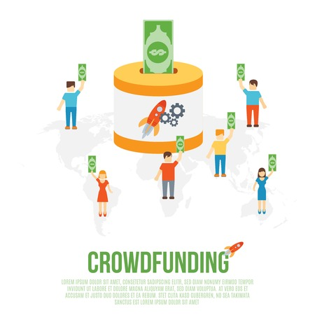 sponsor: Crowdfunding business concept with sponsor money contribution on startup goal icons vector illustration