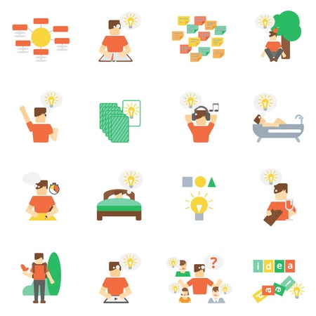 imagine: Ideas development creative thinking and imagine icons flat set isolated vector illustration