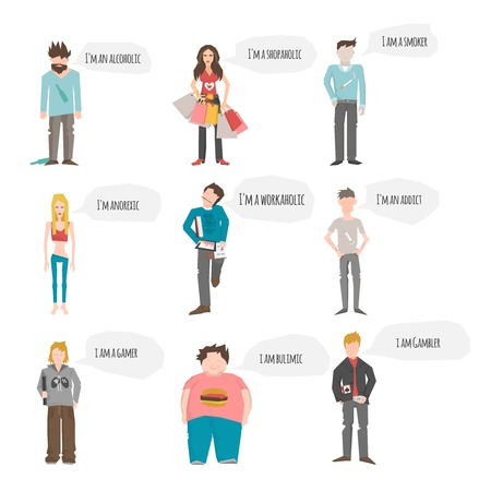 addict: Addict people characters in support group with smoker alcoholic gambler members isolated vector illustration