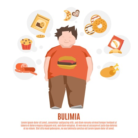 happy young man: Bulimia support group concept with fat young man and unhealthy food flat vector illustration