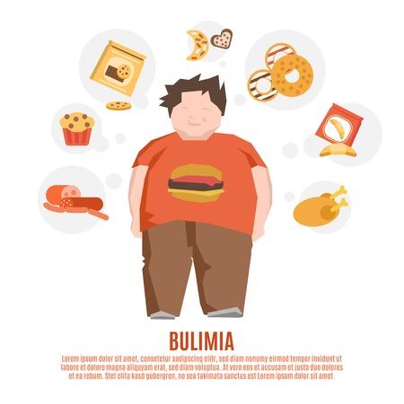 gordos: Concepto de grupo de apoyo de la bulimia con el hombre joven de grasa y alimentos poco saludables ilustraci�n vectorial plana