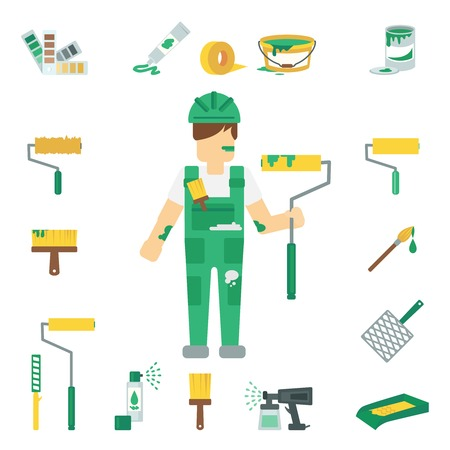 house painter: House painter flat decorative icons set with man working and home repairing tools isolated vector illustration