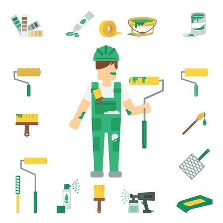 pintor de casas: Pintor de casa iconos decorativos planas establecen con el hombre de trabajo y herramientas de su casa la reparación de ilustración vectorial aislado
