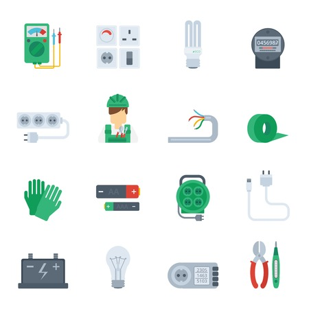 cable cutter: Electricity icon flat set with electrician tools plug pliers isolated vector illustration