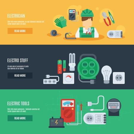 electricidad: Electricidad banner horizontal conjunto con elementos planos cosas electro electricista aislado ilustración vectorial Vectores
