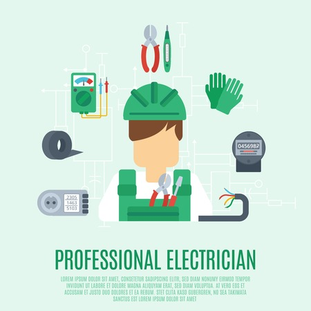 electrician with tools: Professional electrician concept with electricity tools and equipment flat icons vector illustration