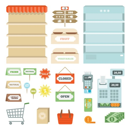 Supermarket elements set with shelves open and closed signs isolated vector illustration
