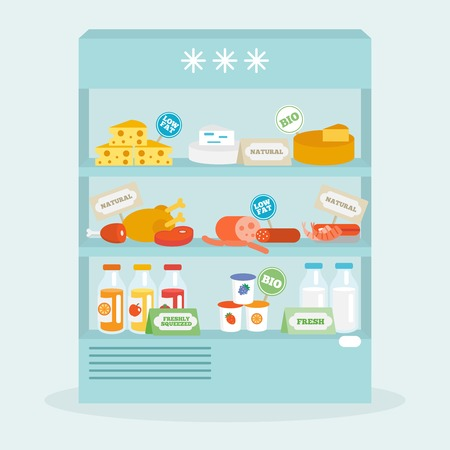 Food in fridge collection with meat cheese beverages flat vector illustration