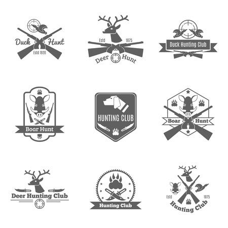sanglier: Canard cerfs chasse au sanglier étiquette de club noire ensemble isolé illustration vectorielle