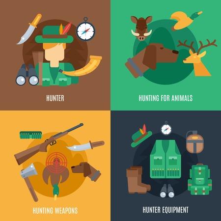cazador: Caza concepto de diseño conjunto con los animales y las armas de equipo cazador iconos planos ilustración vectorial aislado