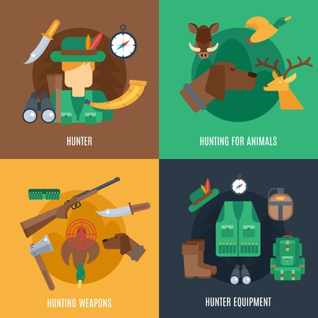 hunting rifle: Hunting design concept set with hunter equipment animals and weapons flat icons isolated vector illustration