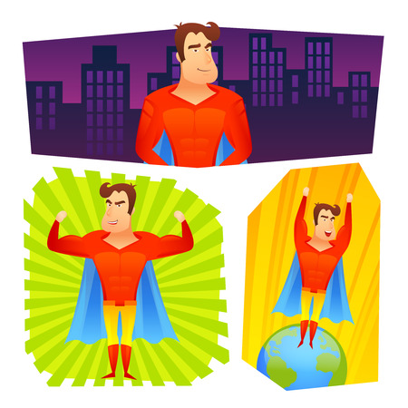 superhuman: Superher fictional powerful cartoon character in red costume blue cape colorful banner set abstract isolated vector illustration Illustration