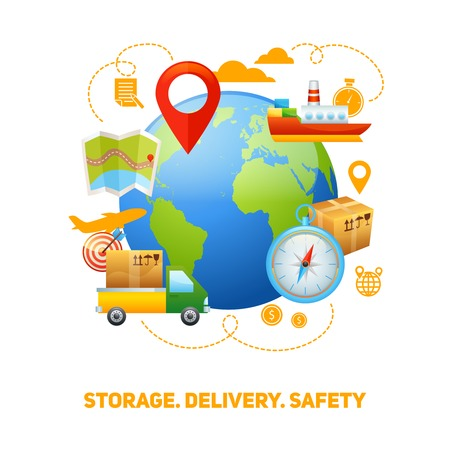 speedy: Worldwide global freight storage and safe speedy delivery service logistic concept design poster print abstract vector illustration