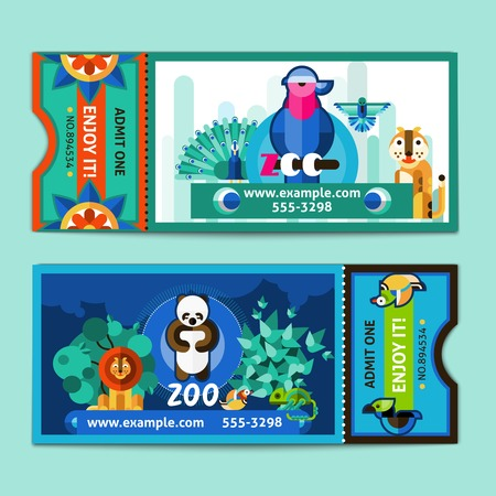 zoo: Zoo tickets templates set with wild amimals and birds isolated vector illustration