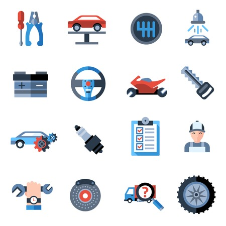 brake pad: Car repair icons set with mechanic service and garage tools isolated vector illustration