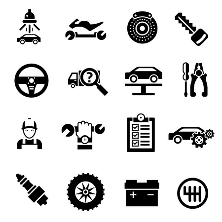 brake pad: Car repair auto vehicle mechanic service icons black isolated vector illustration Illustration