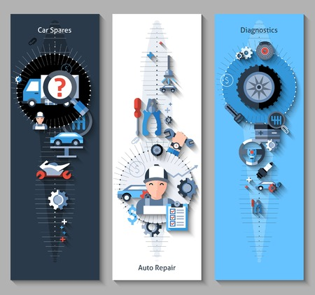 Car repair banners vertical set with spares repair and diagnostics elements isolated vector illustration