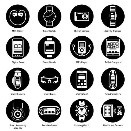 technology technology symbol: Wearable technology icons black set with mp3 player smart watch digital camera activity trackers isolated vector illustration