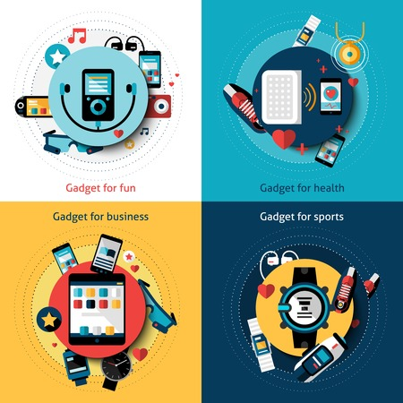 social security: Wearable technology set with gadgets for fun health business and sports vector illustration
