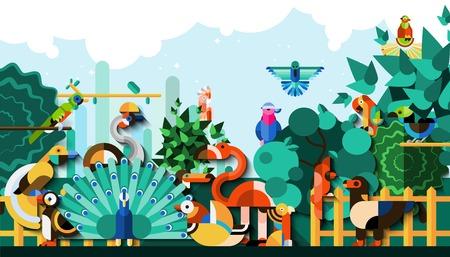 cuervo: Aves ex�ticas en los bosques tropicales de la selva de colores de fondo ilustraci�n vectorial Vectores