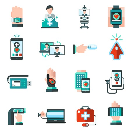 blood pressure monitor: Digital medicine health monitor emergency aid icons set isolated vector illustration
