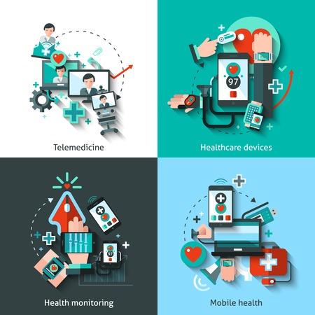 salud: Medicina digital concepto de dise�o conjunto con dispositivos sanitarios telemedicina iconos planos de seguimiento sanitario aislado ilustraci�n vectorial m�vil