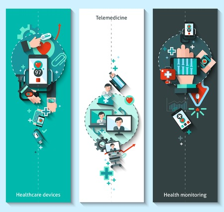 blood pressure monitor: Digital medicine banners vertical set with healthcare devices telemedicine health monitoring elements isolated vector illustration