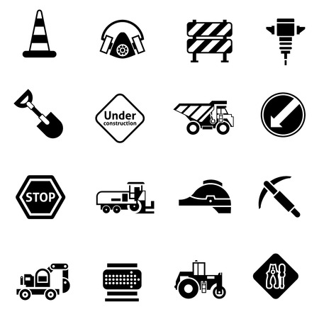 cement mixer: Road repair icons black with warning cone cement mixer builder truck isolated vector illustration