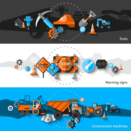tools construction: Road repair horizontal banners set with construction machines warning signs and tools elements isolated vector illustration